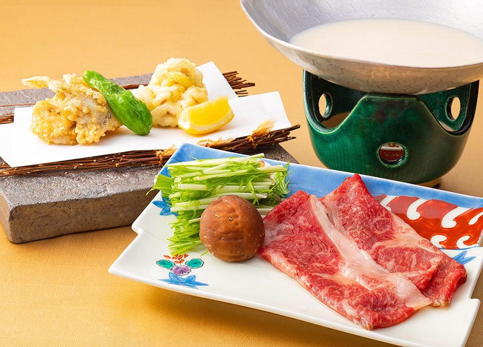 河豚と鱈白子の揚げ物・国産牛のしゃぶしゃぶ 小鍋仕立て イメージ