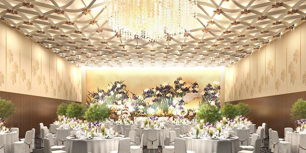メインテーブルの背景を彩る燕子花が、華やかさをさらにプラス。
