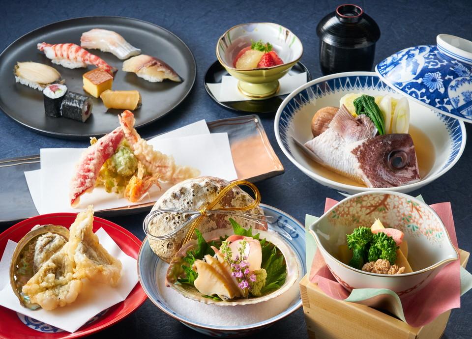 """【九州の豊かな幸を堪能】<br>新鮮な素材を""""天ぷら""""と<br>""""寿司""""で味わうディナー"""