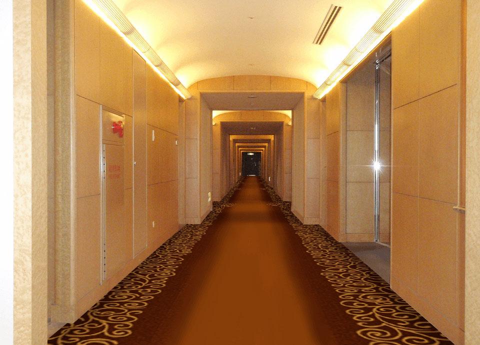 「日本の自然・美」を<br>テーマにした空間 廊下部は森の小道を<br>イメージしたデザイン