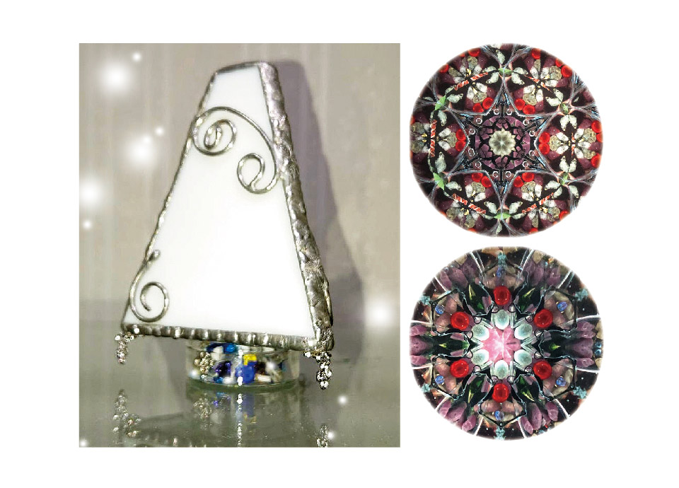 ステンドグラスの万華鏡 (作品と中の映像一例)