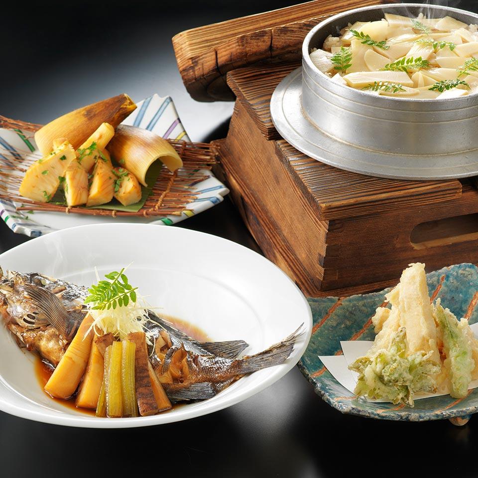 木の芽味噌和え・もろみ味噌和え・若竹煮・醤油焼き・天ぷら など / メバルの煮付け