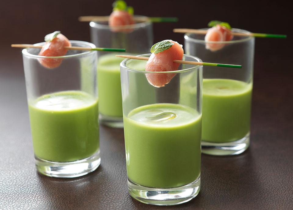 生ハム&グリーンピースのスープ ミント風味