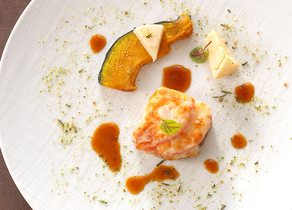 ポーク&トマトのチーズ焼き<br>ローズマリーの香り