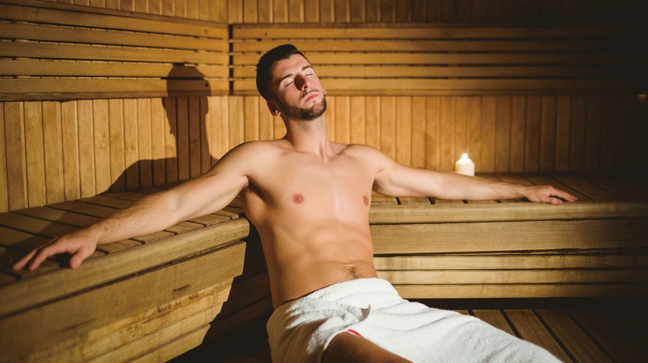サウナで汗を流して癒しのひとときを。