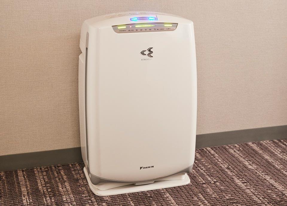 空気清浄機 加湿機能付きなので<br>乾燥対策にご利用ください。