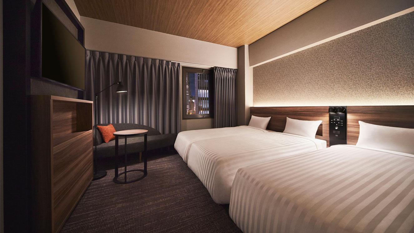 90cm幅のベッドが3台のトリプルルームです。