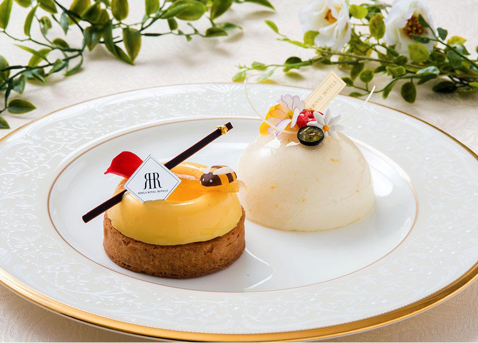 オレンジ蜂蜜のタルト / ラベンダー蜂蜜のムース