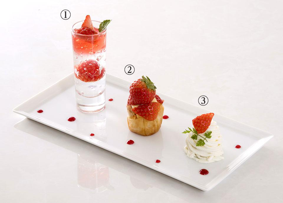 「3種苺のデザートプレート」 コーヒー または 紅茶付き